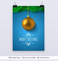 Golden decorative toy ball and fir tree border vector