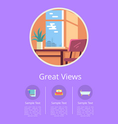 great views in windows of comfortable hotel rooms vector image