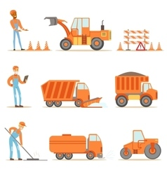 Happy Road Construction And Repair Workers In vector image