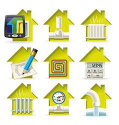 Heating Home Icons vector image vector image