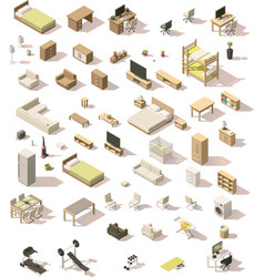 Isometric low poly domestic furniture set vector