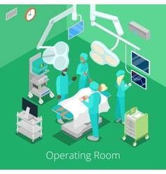 Isometric Surgery Operating Room with Doctors vector image vector image