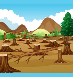 Mountain scene with deforestation view vector