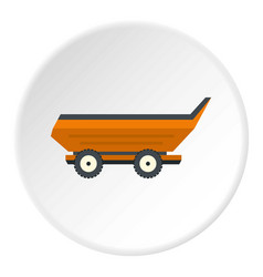 Orange car trailer icon circle vector