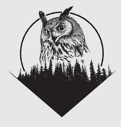 Owl on forest silhouette background vector