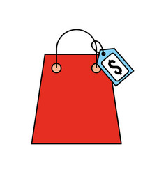 Paper shopping bag with paper handles and tag vector