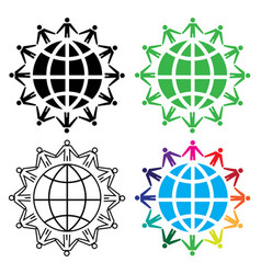 people around the world concept icon set vector image