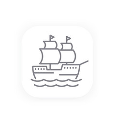 Sailing vessel old ship line icon vector