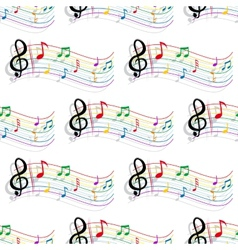 Seamless colorful music notes pattern vector image vector image