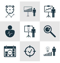 set of 9 administration icons includes project vector image vector image