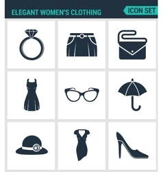 Set of modern icons Elegant women s vector image