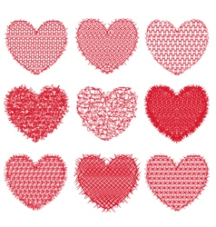 Set of red hearts for design and decoration on a vector image