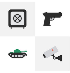 set of simple offense icons elements vault vector image