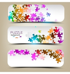 Set of three banners with mosaic made from puzzle vector image