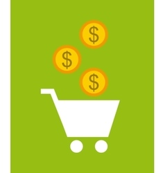 Shopping cart and gold coin vector