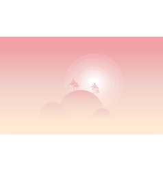 Silhouette of hill tree and sun landscape vector