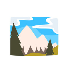 snowy mountains and blue sky with clouds vector image