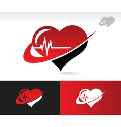 Swoosh heartbeat logo icon vector