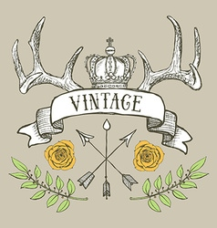 Vintage poster with crown and antlers vector image