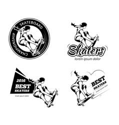 Vintage skateboarding labels logos and badges vector
