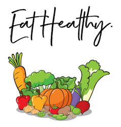 word expression for eat healthy with fresh vector image