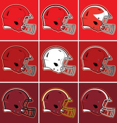Colored football helmets in red tones vector