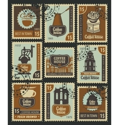 Postage Stamps on the theme of coffee vector image