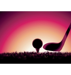 Golf ball on tee at sunset with copy space vector