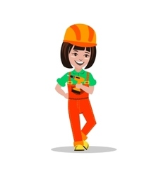 Girl builder character vector