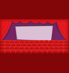cinema movie horizontal banner hall cartoon style vector image