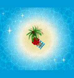 Paradise island aerial view palm tree on beach vector