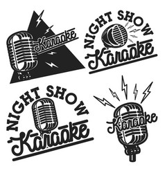Vintage karaoke emblems vector