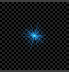 Blue realistic flash with rays and glowing vector