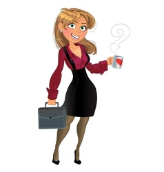 Blond in wine red chemise with cup of tea or vector