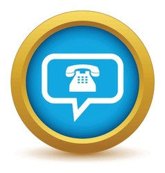 Gold telephone conversation icon vector