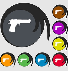 Gun icon sign symbol on eight colored buttons vector