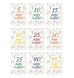 Set of happy birthday card covers for anniversary vector