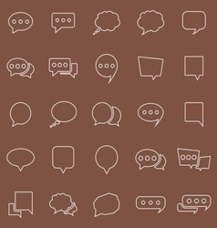 Speech bubble line color icons on brown background vector
