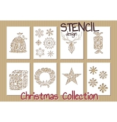 Set of stencil design templates christmas vector