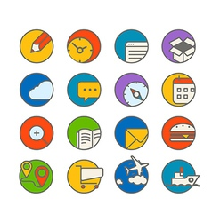 Different web browser icons set with rounded vector