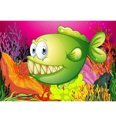 A green piranha vector