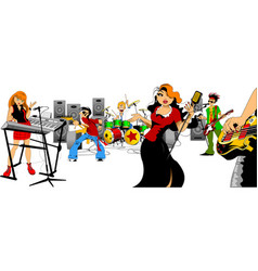 beautiful singer and music group vector image