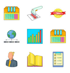Business of the future icons set cartoon style vector