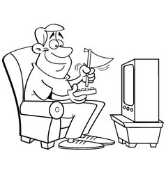 Cartoon man watching television vector image vector image