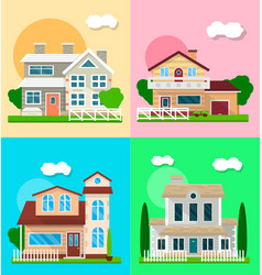 Detailed graphic houses colorful set of vector