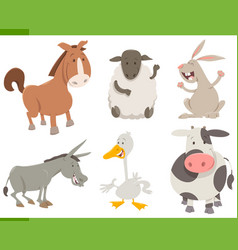 farm animal characters collection vector image vector image