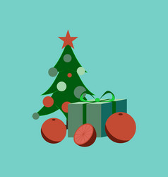 Flat on background of christmas tree orange gift vector