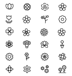 Flowers and floral line icons 2 vector