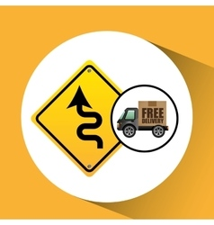 Free delivery truck traffic road sign vector
