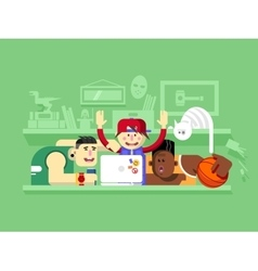 Friends looking at laptop screen vector image vector image